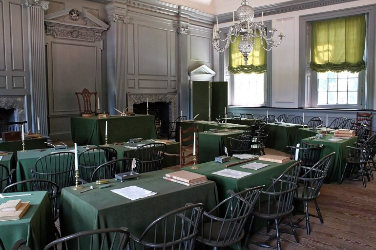 The Assembly Room where the U.S. Constitution was signed.