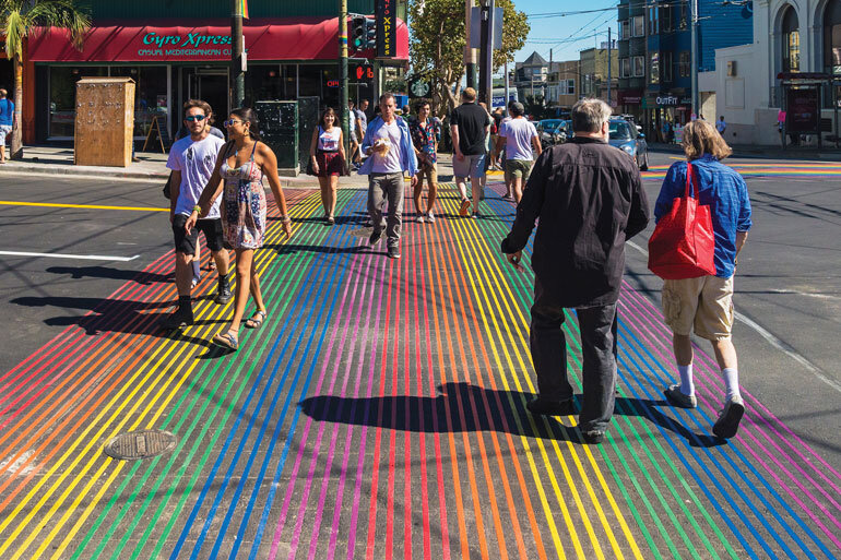Rainbow crosswalks in San Francisco