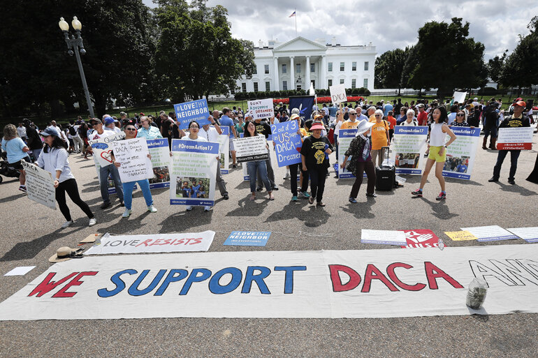 DACA supporters rally in front of the White House.