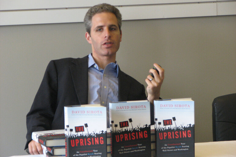 Liberal political commentator and author David Sirota at a book signing in Ohio.