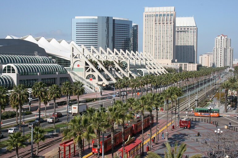 Downtown San Diego, with a view of the convention center.