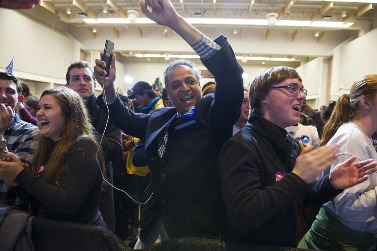 Supporters celebrate news that Democrat Ralph Northam has won the gubernatorial election in Virginia.