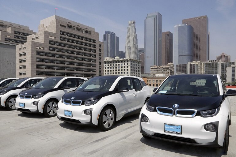Electric cars atop the Los Angeles Police Department parking lot