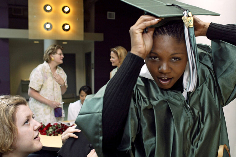 A foster youth graduating from high school.