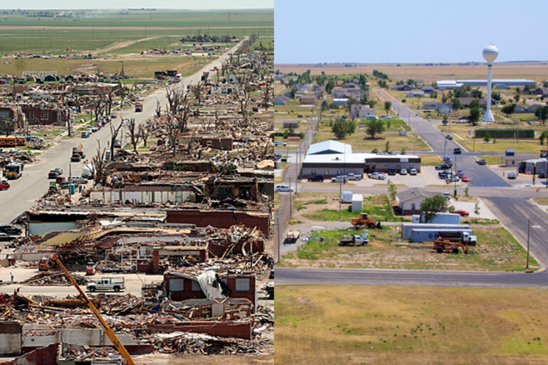 Then and now: A tornado leveled most of Greensburg, Kan., on May 4, 2007. It has since rebuilt as an environmentally friendly city.