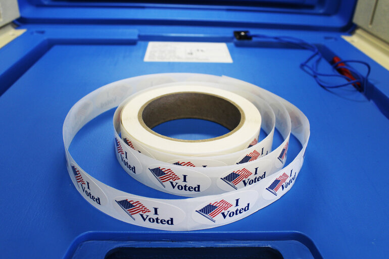 "A roll of ""I Voted"" stickers."