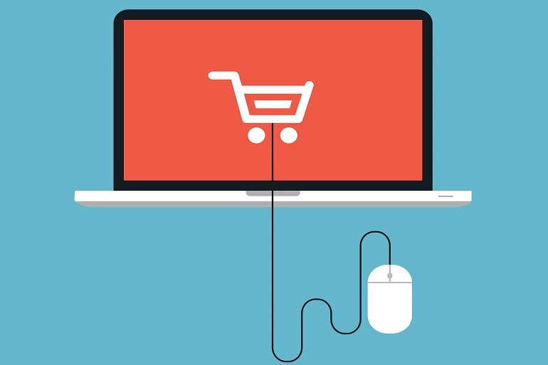 illustration of a computer with an illustrated shopping cart on the screen