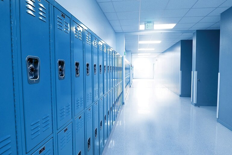 school hallway and lockers