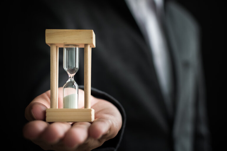 Hourglass runs out.