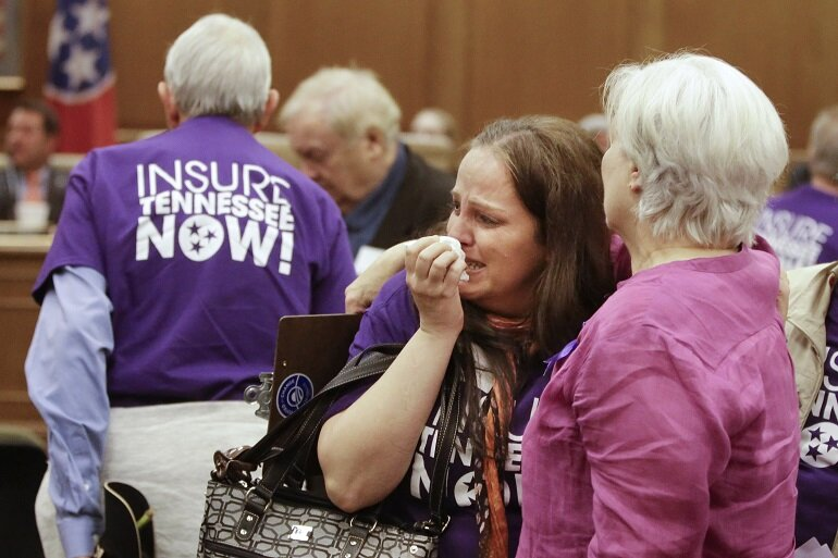 Supporters cry after Tennessee Gov. Bill Haslam's plan to expand Medicaid was rejected for the second time this year Tuesday.