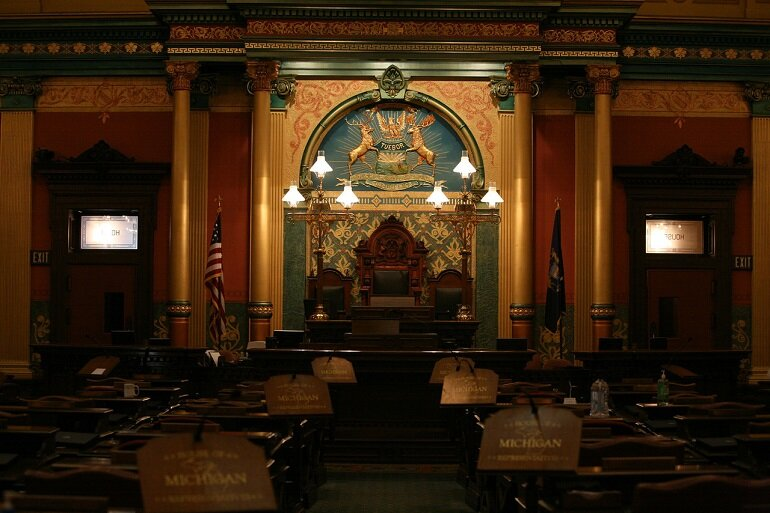 The chambers where the Michigan House of Representatives convenes.