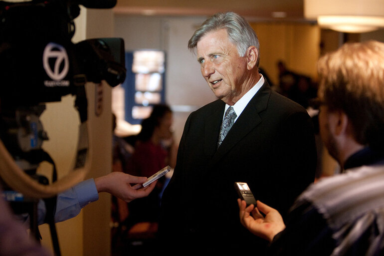 Arkansas Gov. Mike Beebe talks to reporters.