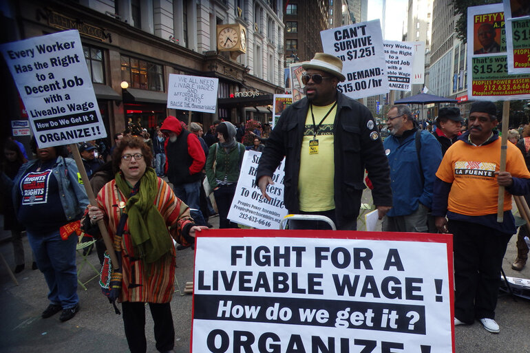 A rally to raise the minimum wage in New York City.