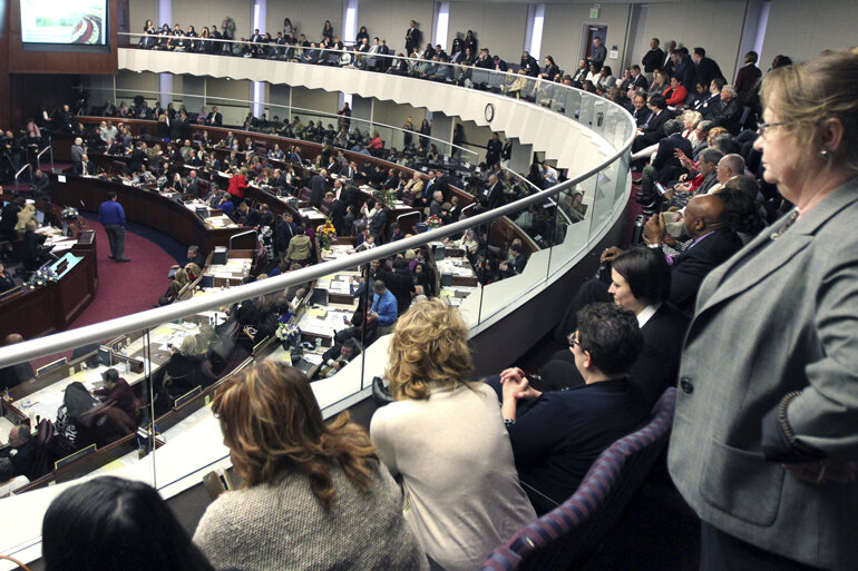 Spectators looking down on the Nevada State Assembly.