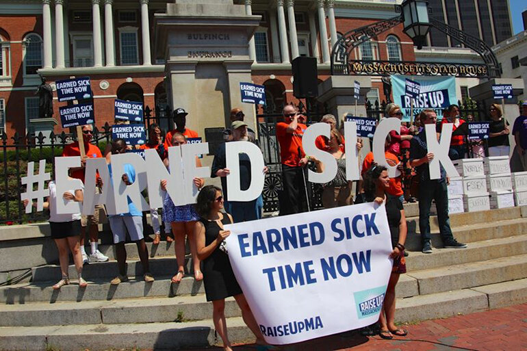 The Raise Up Massachusetts coalition campaigns for paid sick time in front of the Massachusetts State House.