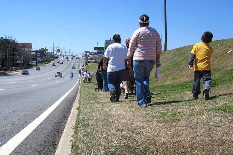Low-income neighborhoods are twice as likely as high-income neighborhoods to lack basic infrastructure, such as sidewalks, to protect pedestrians and cyclists.