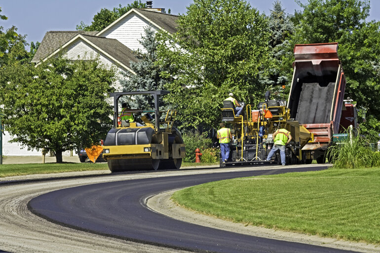 Roads in a neighborhood being paved.