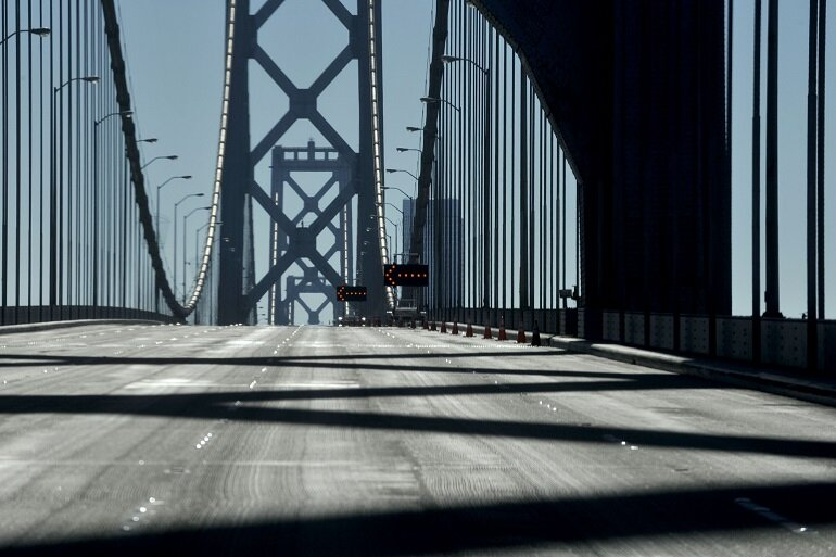 The Bay Bridge in San Francisco, closed.