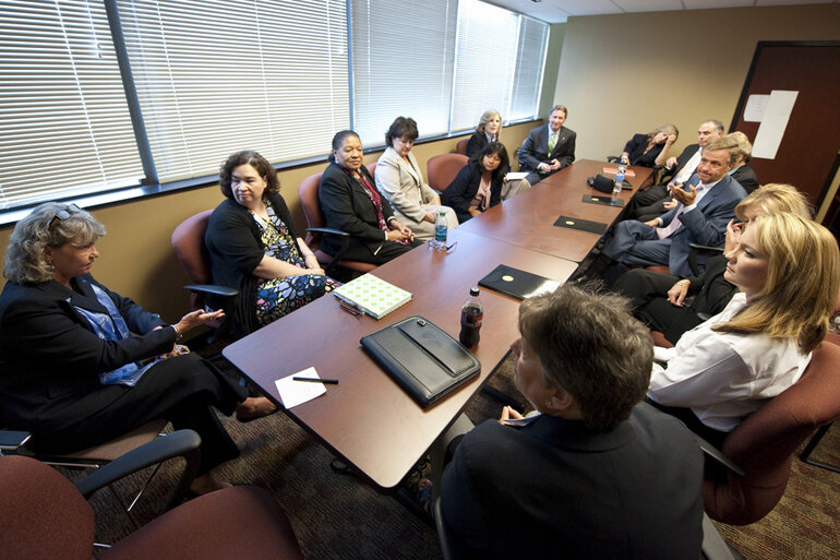 Tennessee Gov. Bill Haslam (center right) meets with the Department of Children's Services.
