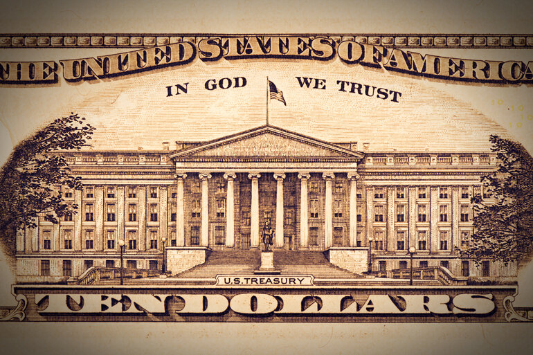 Detail of the back of a U.S. ten-dollar bill