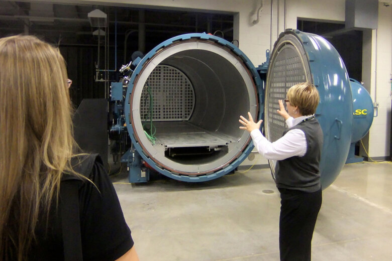 A woman conducting a workshop at the National Center for Aviation Training in Wichita.