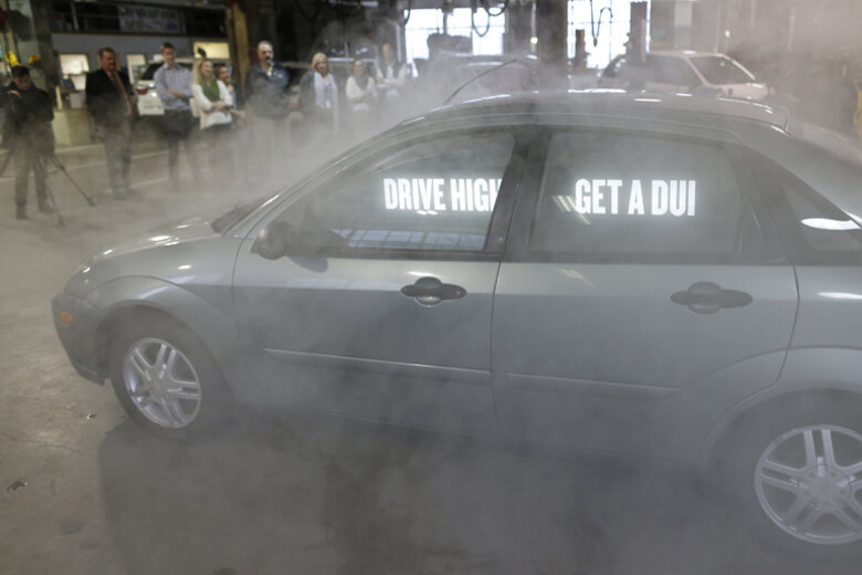 A demonstration of a car that the Colorado Department of Transportation took to 4/20 rallies and concerts to promote safe driving.