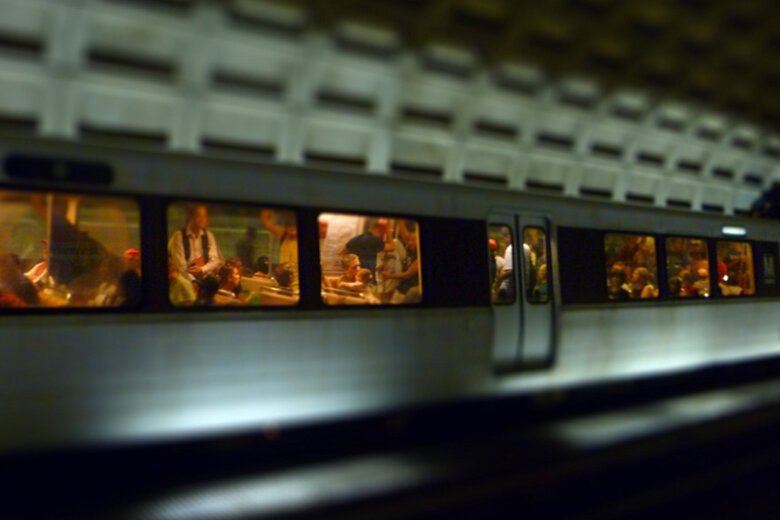 Many commuters ride the Washington, D.C., Metrorail.