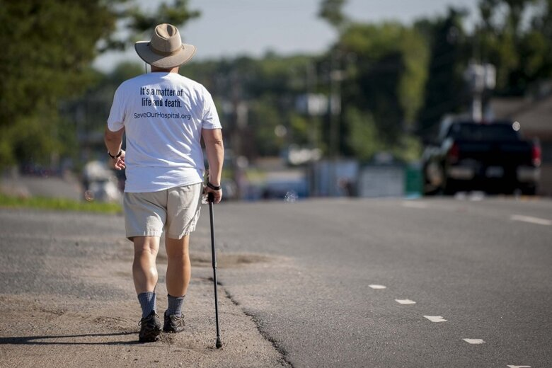 Belhaven, N.C., Mayor Adam O'Neal on his two-week, 273-mile trek to Washington, D.C., to protest the closure of his town's hospital.