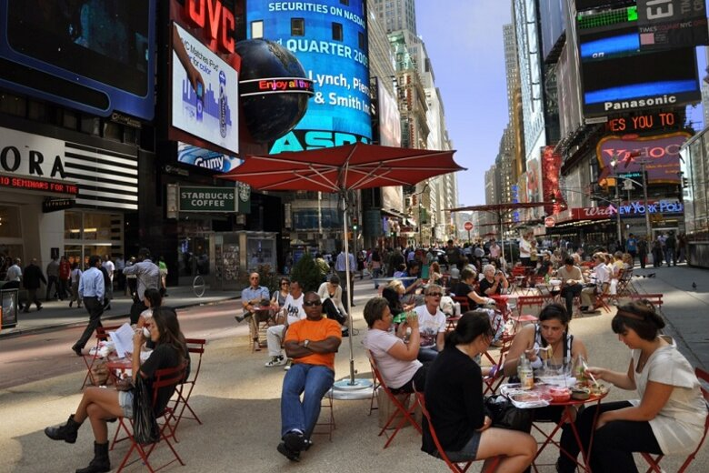 A pedestrian plaza in New York City.