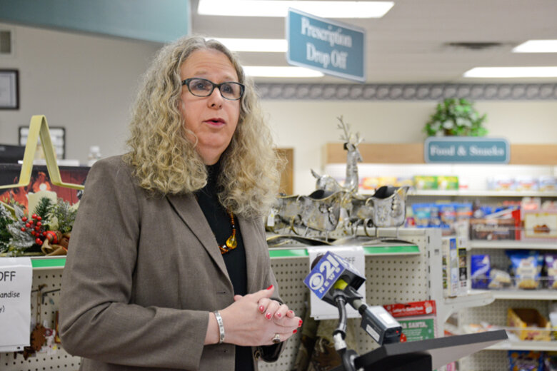 Dr. Rachel Levine at a pharmacy.