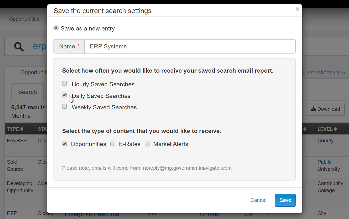 Setup search alert emails for new government RFPs