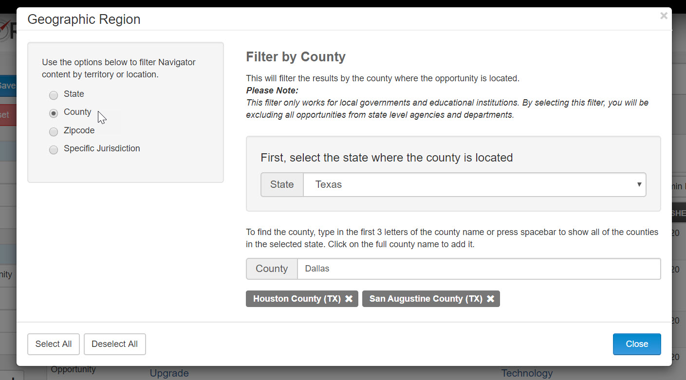 Search government bids by state, county or zip code